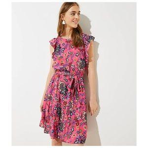 LOFT    Mixed Spring Floral Tie Flutter Dress 4P